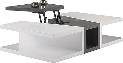 Destock Meubles Mesa Baja diseño Lacado, Color Blanco y Gris Antracita Bandeja elevable