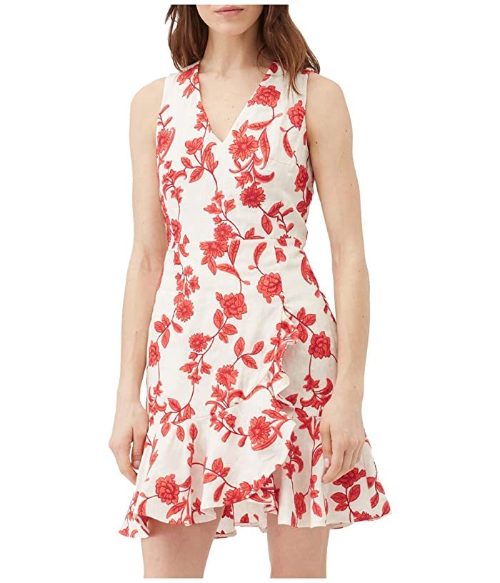 Rebecca Taylor  Sleeveless Scarlet Wrap Dress (Ivory/Red Coral) Womens Clothing