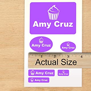 Camp or School Pack Custom Labels Self Adhesive PVC Stickers Waterproof (90 Labels) for Camp or School, Dishwasher Safe - Great for Clothes - Machine Washable Choose Custom Color, Text and Icons