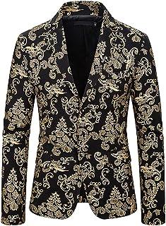 Men's Slim Fit Peak Lapel Floral Suit Jacket Two Buttons Casual Blazer Prom Party Coat Christmas Tuxedos Jacket