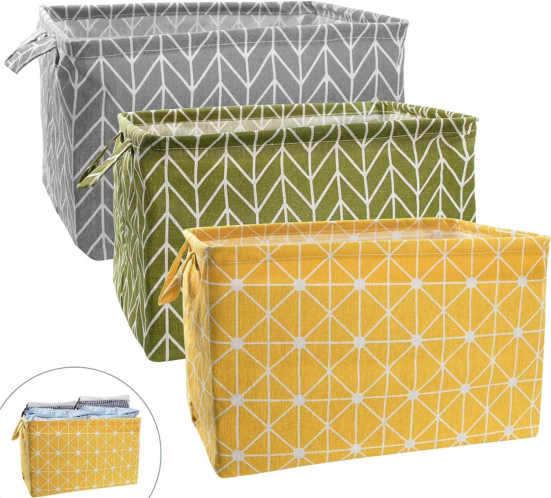 3Pcs Large Rectangular Canvas Storage Basket, MOTASOM Foldable Toy Organizer Bins with Handles, Waterproof Clothes Storage Box for Nursery Home Closet Office Organization, Shelf & Toy Basket (L)
