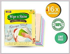 Fablas Cellulose Cleaning Sponge - Wipe n Shine Sponge Mop, 18cm x 20.5cm, Multicolour - Pack of 5