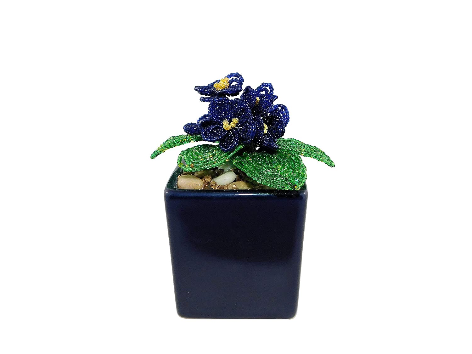 5.1 Inch Handmade Beaded Blue At the price of surprise African Flower New Free Shipping in Gif Pot. Violets