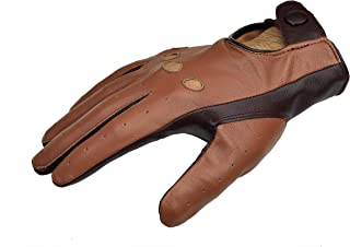 Two Tone Unlined Leather Driving Gloves - Cognac/English Tan