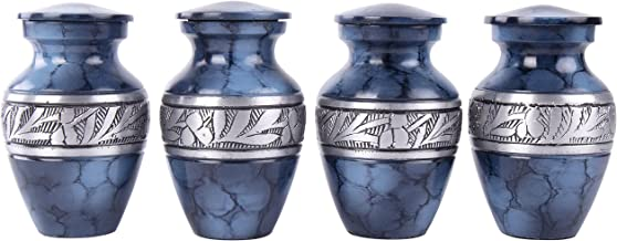 GSM Brands Keepsake Cremation Urns (Set of 4) - Mini Funeral Memorials in Blue Design with Box - Meant for Sharing of Token Amount of Ashes (3 Inch by 2 Inch)