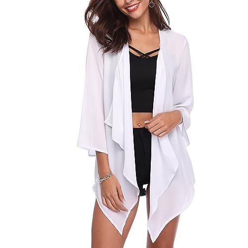 8fed5e0f9529c Anderlay Women's Long Open Front Drape Lightweight Maxi Bell Sleeve  Cardigans Sheer Chiffon Loose Kimono (
