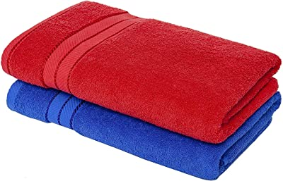 AEROHAVEN 450 GSM 100% Cotton Towel Set of 2 - Red and Blue