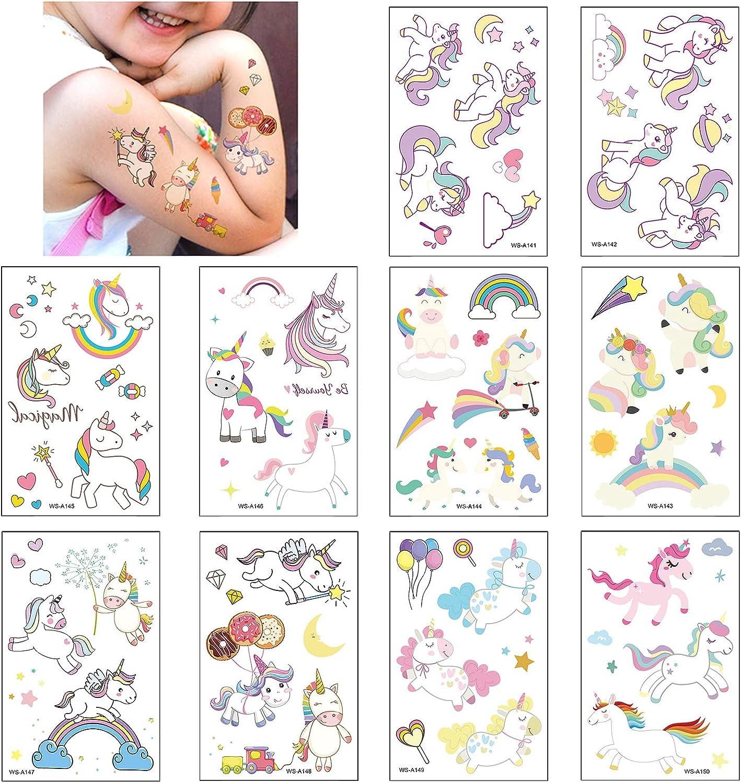 10 Hojas Unicornio Tatuajes Temporales Para Niños Niñas, Falso Tattoos Pegatinas Impermeables Calcomanías para Infantiles Regalo de Fiesta de Cumpleaños
