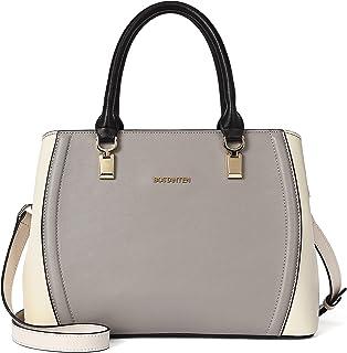 BOSTANTEN Damen Leder Handtasche Schultertasche Umhängetasche Elegante Henkeltasche Tote Bag Grau
