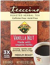 Teeccino Herbal Coffee Vanilla Nut - 10 Tea Bags - Case of 6 - 70%+ Organic - Gluten Free - Dairy Free - Yeast Free - Vegan
