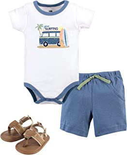 Hudson Baby Unisex Baby Cotton Bodysuit, Shorts and Shoe Set, Gone Surfing, 12-18 Months