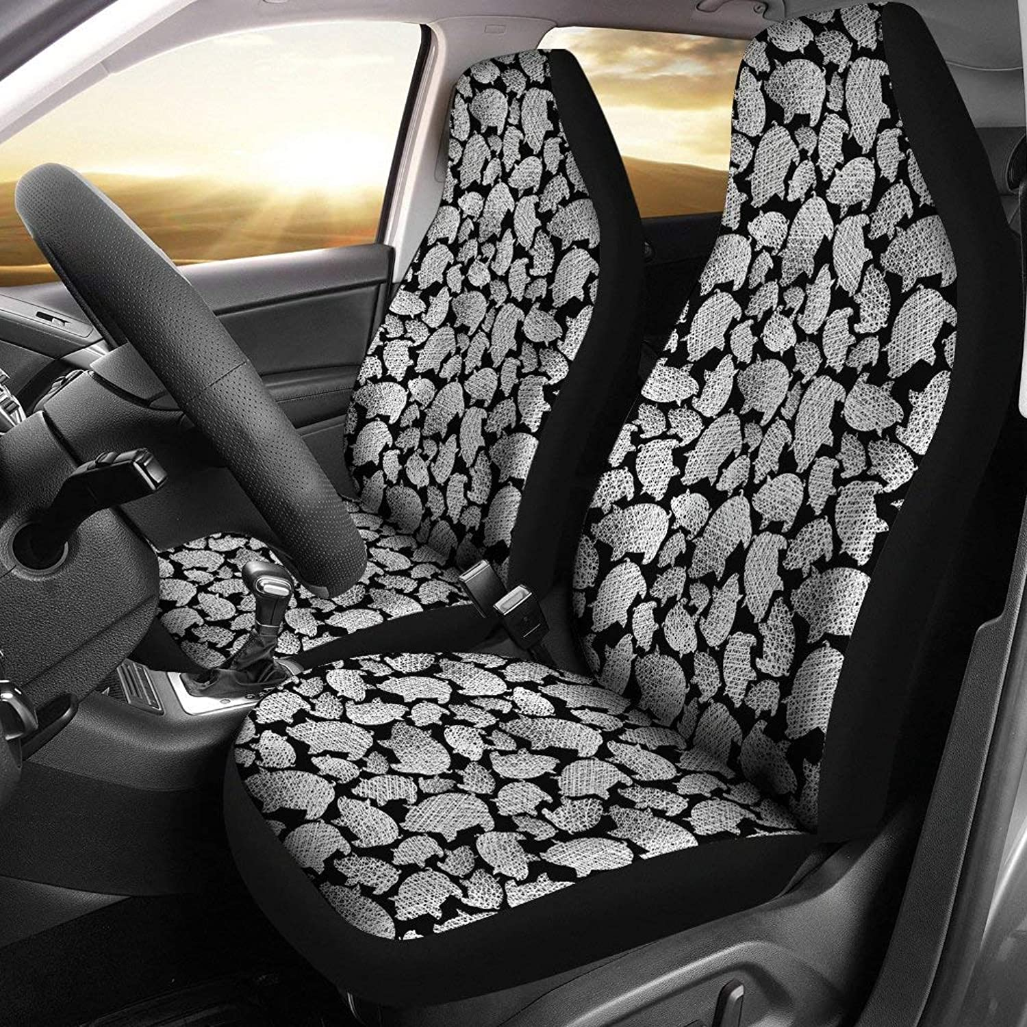Barn smile Cute Pig Pattern 2 car seat Covers Designed for Quick and Easy Inssizetion on Most car and SUV Bucket Style Seats - no Tools Required.