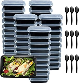 Plastic Meal Prep Containers 28oz 50 Pack, Food Storage Containers with Lids Airtight, Food Prep Containers for Freezer, R...
