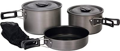 Texsport Black Hard Anodized Camping Cookware- Best Camping Cookware For Family trips