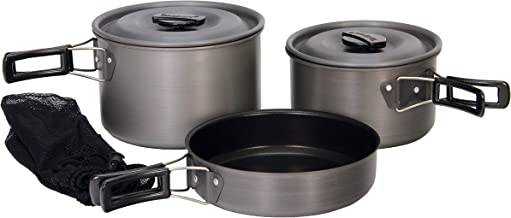 Texsport Black Ice The Scouter 5 pc Hard Anodized Camping Cookware Outdoor Cook Set with Storage Bag