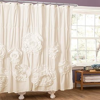 "Lush Decor Serena Shower Curtain Ruffled Floral Shabby Chic Farmhouse Style Bathroom Decor, 72"" x 72"", Ivory"