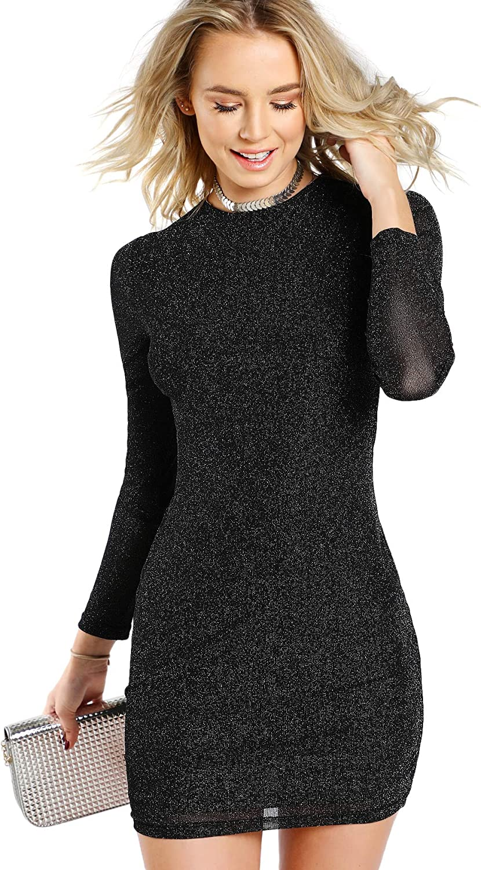 Floerns Women's Bodycon Sheer Mesh Glitter Mini Dress