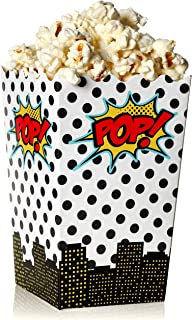 Blue Panda 100-Count Superhero Comic Theme Mini Popcorn Party Favor Boxes - 3 x 5 Inch Snack Containers for Kids Birthday Parties and Movie Night