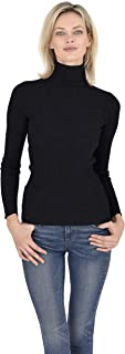 Turtleneck Sweater 100% Cashmere Ribbed Long Sleeve Pullover for Women