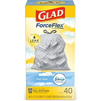 Glad ForceFlex Tall Kitchen Drawstring Trash Bags, Fresh Clean, 13 Gal, 40 Ct (Package May Vary)