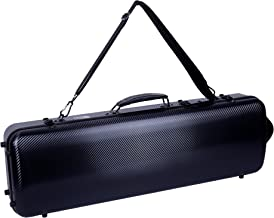 Crossrock Strong and Lightweight Carbon Composite exterior with Music Sheet Pocket and Backpack in Black Oblong 4/4 Violin Case (CRF4000OVBK)