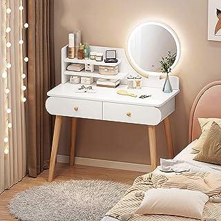 WSJIANP LED Coiffeuse, Miroir Coiffeuse, Lumière Dimmable 2 Tiroirs Compartiments De Rangement Table De Maquillage, Femme ...
