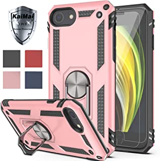 KaiMai iPhone SE 2020 Case with HD Screen Protector (2Pack) 360 Degree Rotating Ring & Bracket Dual Layers of Shockproof TPU and Solid PC Phone Case for Apple Apple iPhone 6/6s/7/8-Rose Gold
