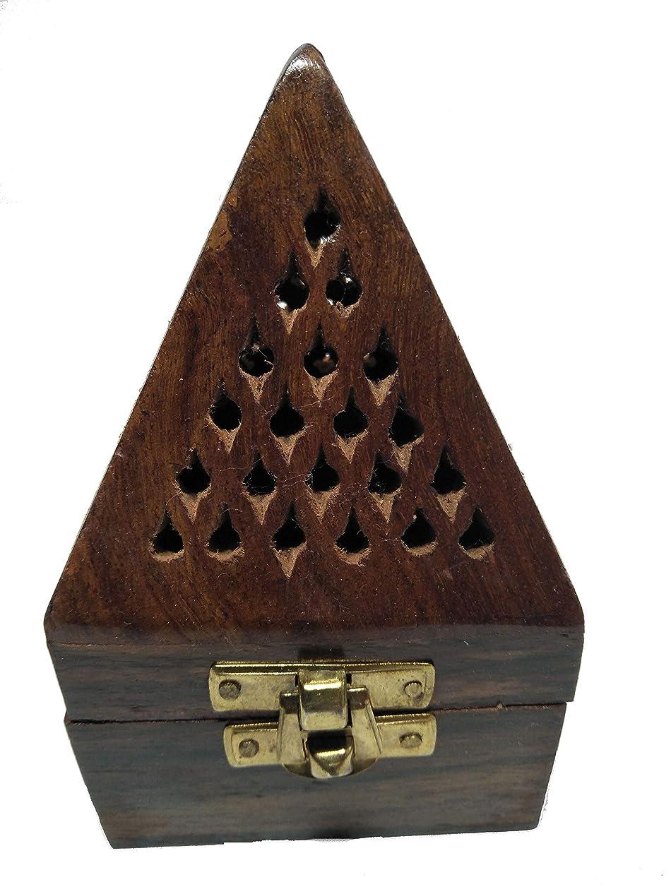 組立パプアニューギニア観察クリスマスプレゼント、木製ピラミッド形状Burner、Dhoopホルダーwith Base正方形とトップ円錐形状Dhoopホルダー