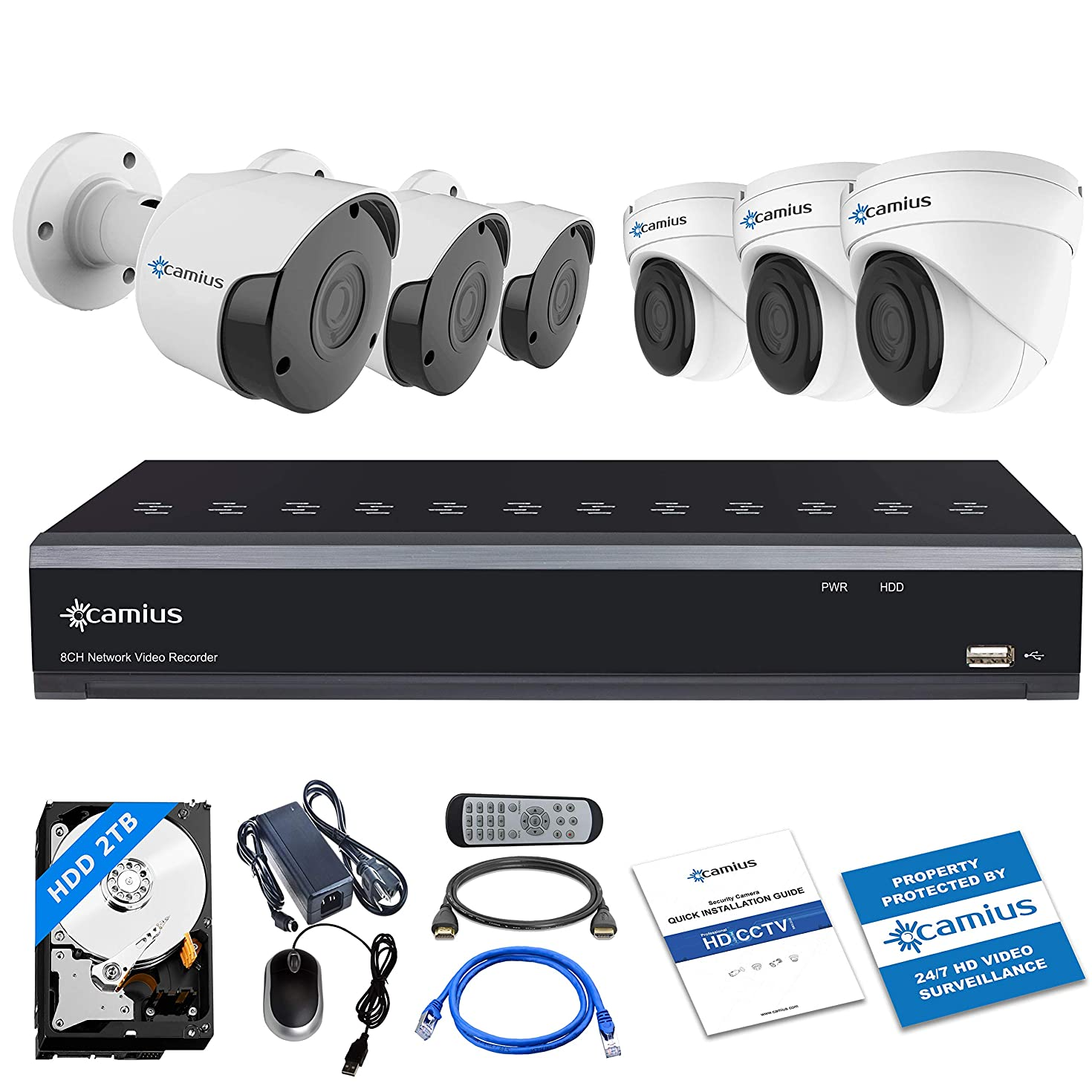 Camius 8CH 5MP PoE Home Security Camera System with Audio, 6 Wired Surveillance IP Cameras (3 Bullet, 3 Dome), 4K 8 Channel NVR with 2 TB HDD, Browser,Mac,PC, Mobile Camera App View IPV1128P3B3I5MA2T