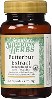 Butterbur Extract 75 mg (120 Capsules 2 Bottles of 60 Capsules) Made in USA by Swanson