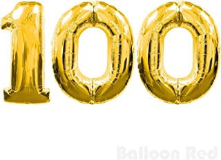 30 Inch Foil Mylar Balloons for Wall Decoration (Premium Quality, Air or Pure Helium Fill Only), Glossy Gold, Number 100