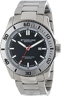 Stuhrling Original Men's 714.02 Aquadiver Regatta Bermuda Swiss Quartz Professional Diver Black Dial Stainless Steel Bracelet Watch