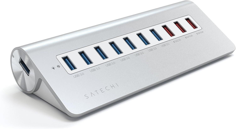 Satechi 10 Port USB 3.0 Premium Aluminum Hub with 7 Data Ports and 3 Charging Ports (White Trim)