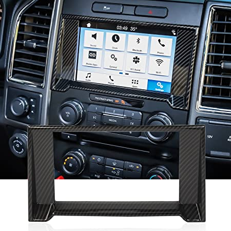 GPS Navigation Air Condition Volume Panel Cover Trim For Ford F150 Carbon Fiber