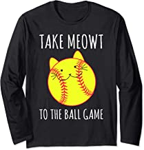 Funny Cat Lovers Softball Gifts Take Meowt To The Ball Game Long Sleeve T-Shirt