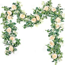 Der Rose 2Pack 13ft Artificial Eucalyptus Flower Garland with Fake Silk Rose Flower Vine Eucalyptus Leaves Greenery Garlan...