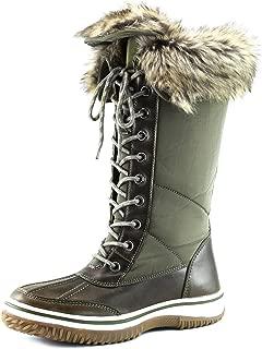 Women's Knee High 2-Tone Up D'cor Zipper Cowboy Warm Fur Water Resistant Eskimo Snow Boots
