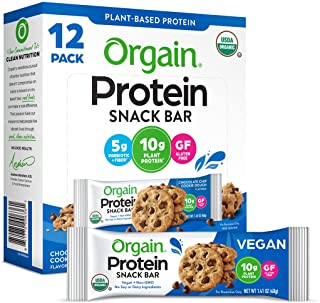 Orgain Organic Plant Based Protein Bar, Chocolate Chip Cookie Dough - Vegan, Gluten Free, Non Dairy, Soy Free, Lactose Fre...