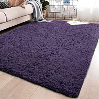 YJ.GWL Soft Grey-Purple Shaggy Area Rugs for Girls Room Bedroom Non-Slip Kids Carpet Baby Nursery Decor Fluffy Modern Rug 5.3 x 7.6 Feet