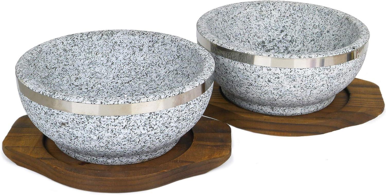 Spiceberry Home Granite Stone Dolsot Bibimbap Bowls, 32-Oz (Large Personal Size), Set of 2