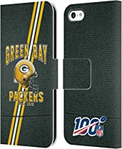 Official NFL Football Stripes 100th 2019/20 Green Bay Packers Leather Book Wallet Case Cover Compatible for iPhone 5c