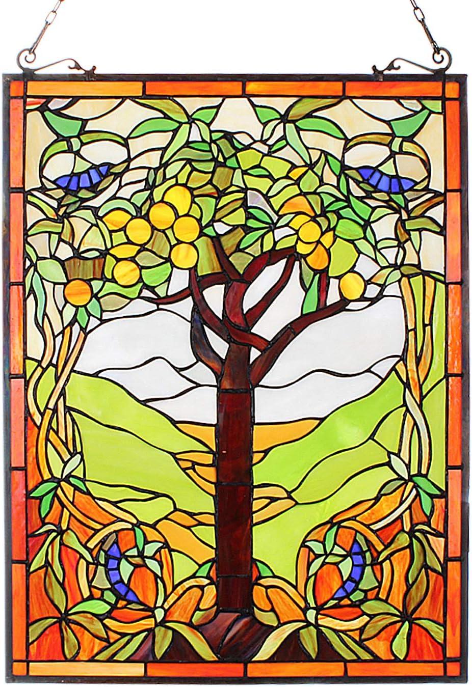 Elegant ARTZONE Apple Tree Window Hangings Superior Tiffan Glass Handmade Stained