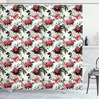 Ambesonne Shabby Flora Shower Curtain, Floral Flower Roses Buds with Leaves and Branches Art Print, Cloth Fabric Bathroom Decor Set with Hooks, 70