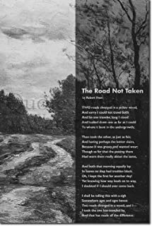 Introspective Chameleon (B&W) The Road Not Taken Poem Print - Dirty Road Background - Art Photo Poster Gift - Size: 24 X 16 Inches (38 x 25 cm)