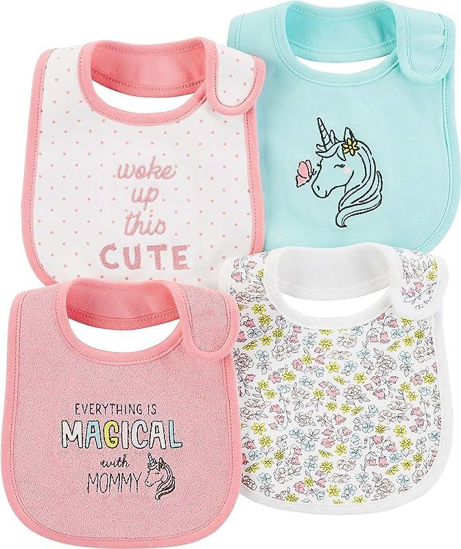 Carter S Baby Girls 4 Pack Teething Bibs
