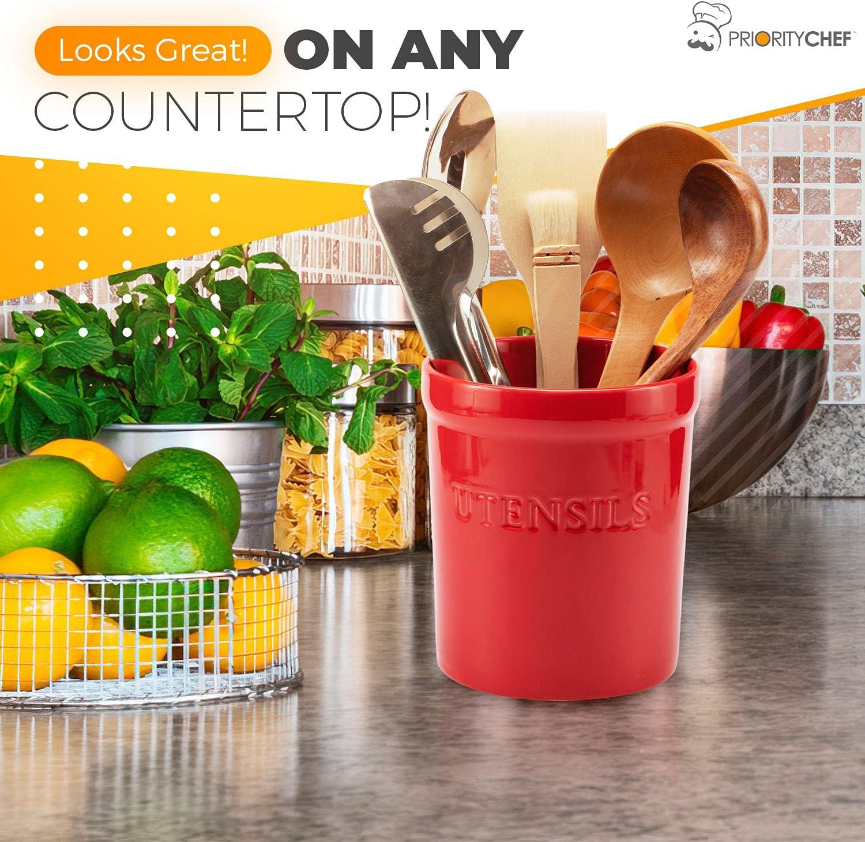 PriorityChef Kitchen Utensil Holder for Countertop, Heavy Ceramic Utensils Caddy, Large Spatula Organizer Utensil Crock - Red : Home & Kitchen