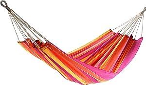 Jobek 25349 hamaca sin palo de madera JOIA, 100% JobekCord, rojo naranja amarillo rayada