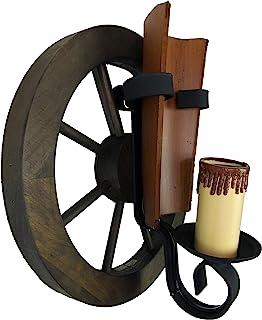 Aplique de rueda de carro 1 luz con teja envejecida.