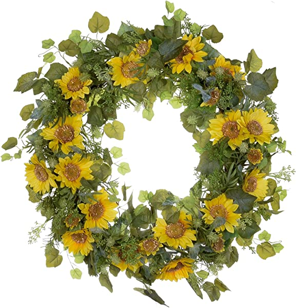 POETIC WREATH F11 Large 21 Inch Yellow Sunflowers Leafs Grapevine Wreath Year Round Wreath Spring Wreath Summer Wreath Front Door Wreath Festival Wreath Gifts Handmade Wreath Rustic Wreath