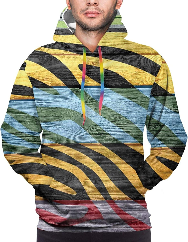 Men's Hoodies Sweatshirts,Colorful Yellow Birds On Green and Brown Tree Wildlife Park Cartoon Fun Art Print